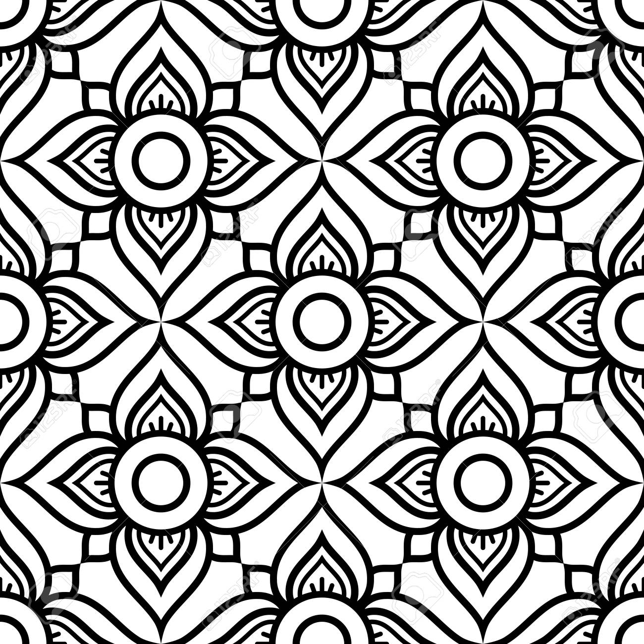 Thai Flowers Seamless Pattern Black And White Repetitive Design
