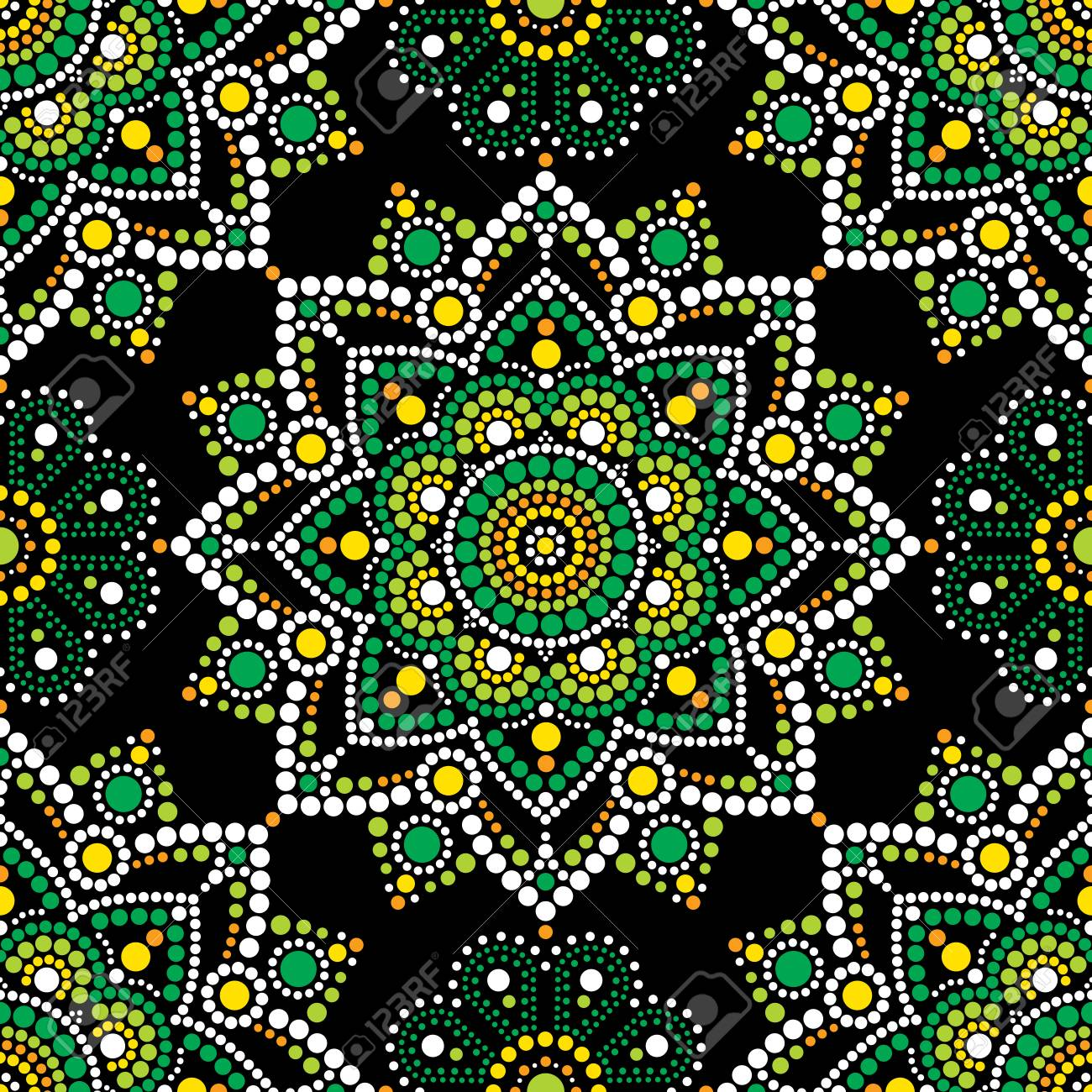 Aboriginal Dot Painting Seamless Pattern Mandala Bohemian Vector