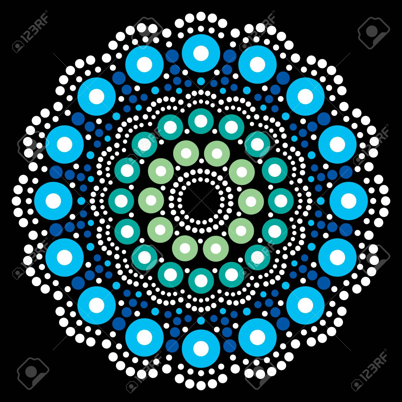 Mandala Bohemian Vector Dot Painting Aboriginal Dot Art Retro