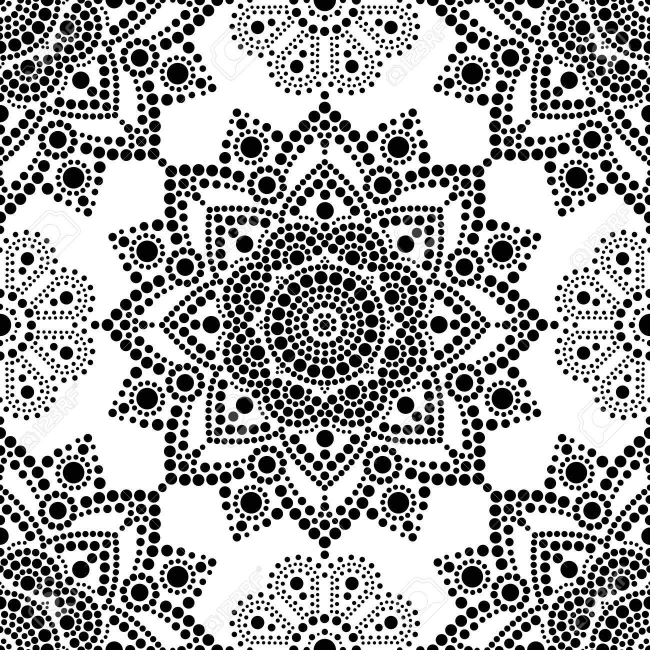 Aboriginal Dot Painting Seamless Pattern Mandala Bohemian Vector Art Retro Folk Design Inspired