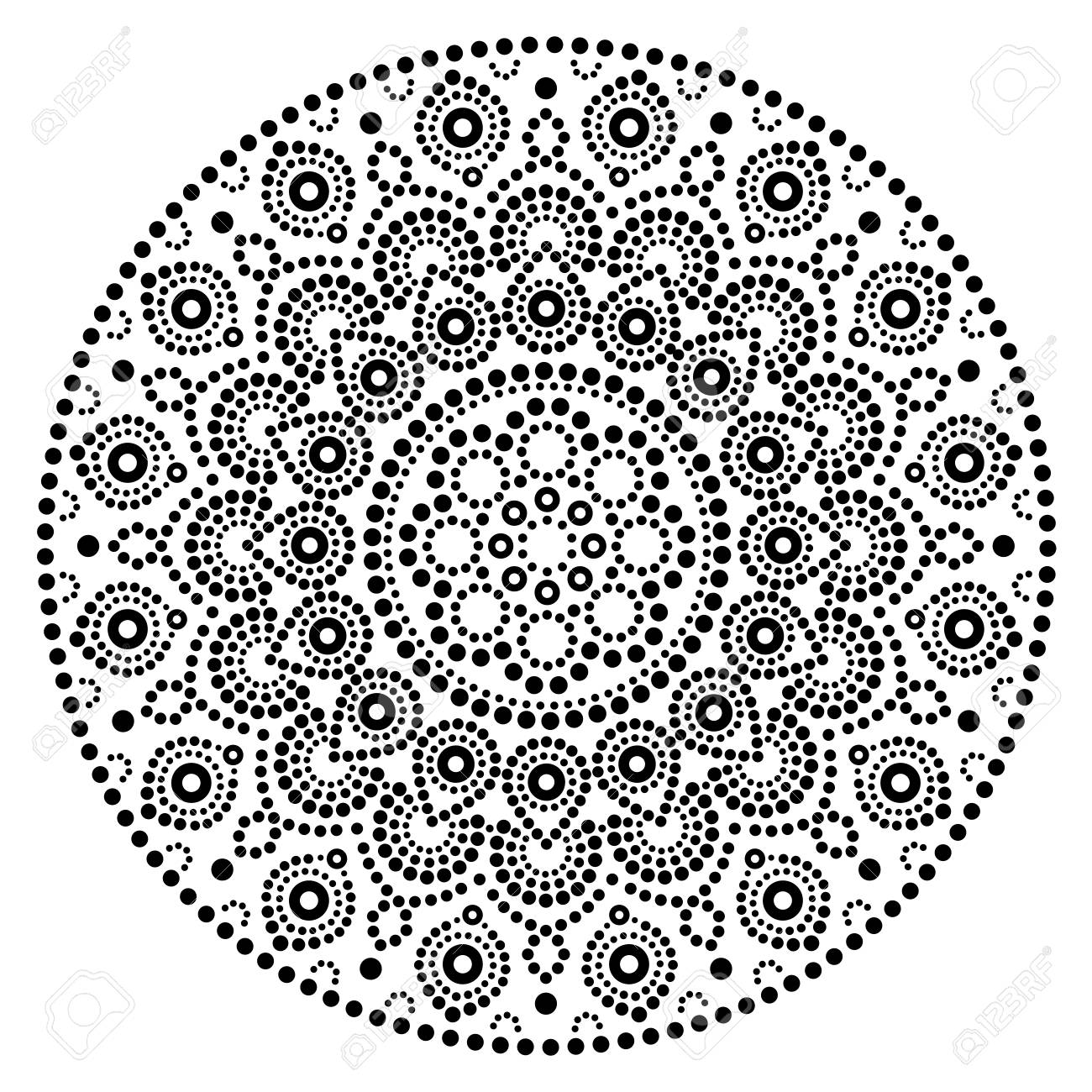 Mandala vector art australian dot painting black and white design aboriginal folk art bohemian