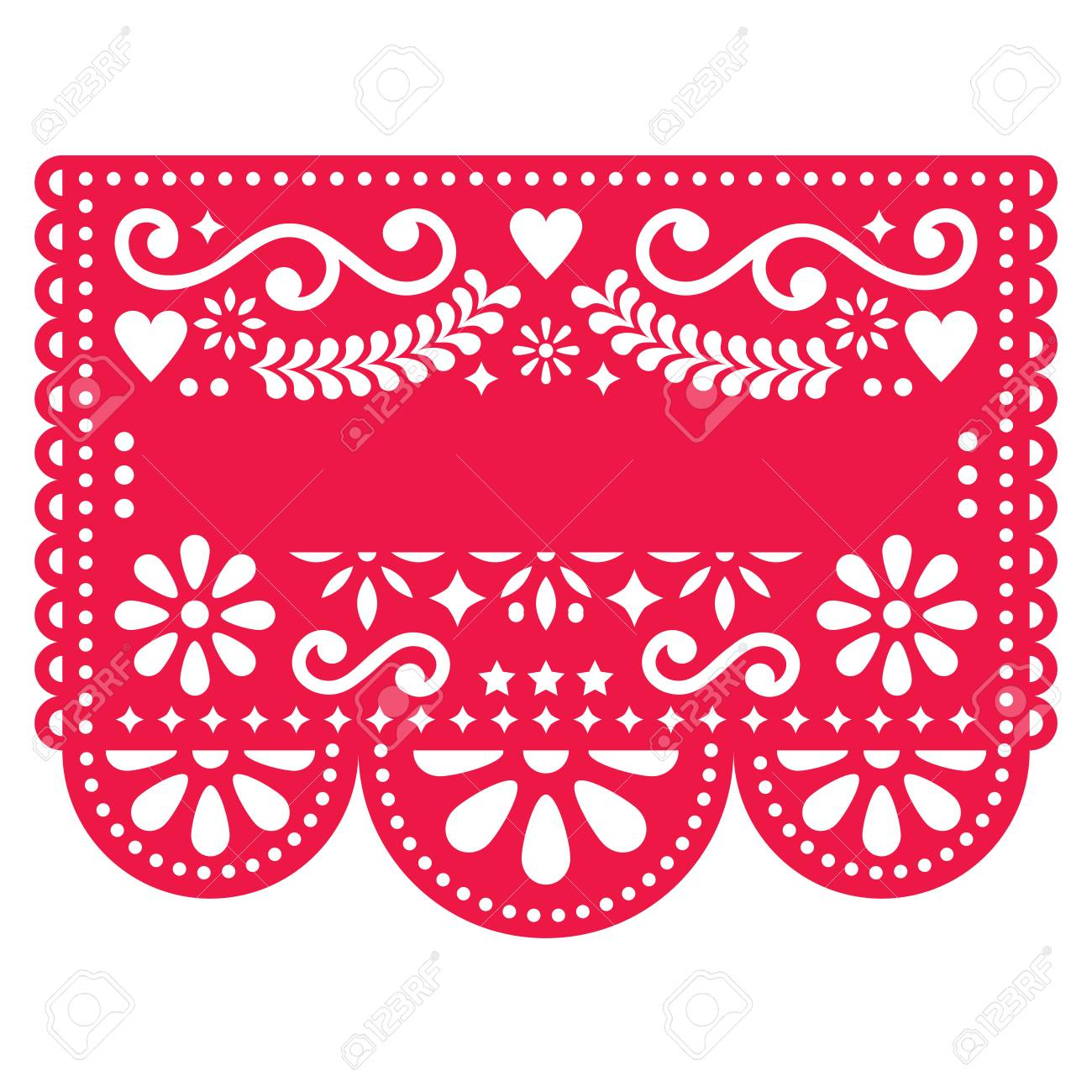 Mexican Papel Picado vector template design - traditional red vector pattern with blank text - 91541943