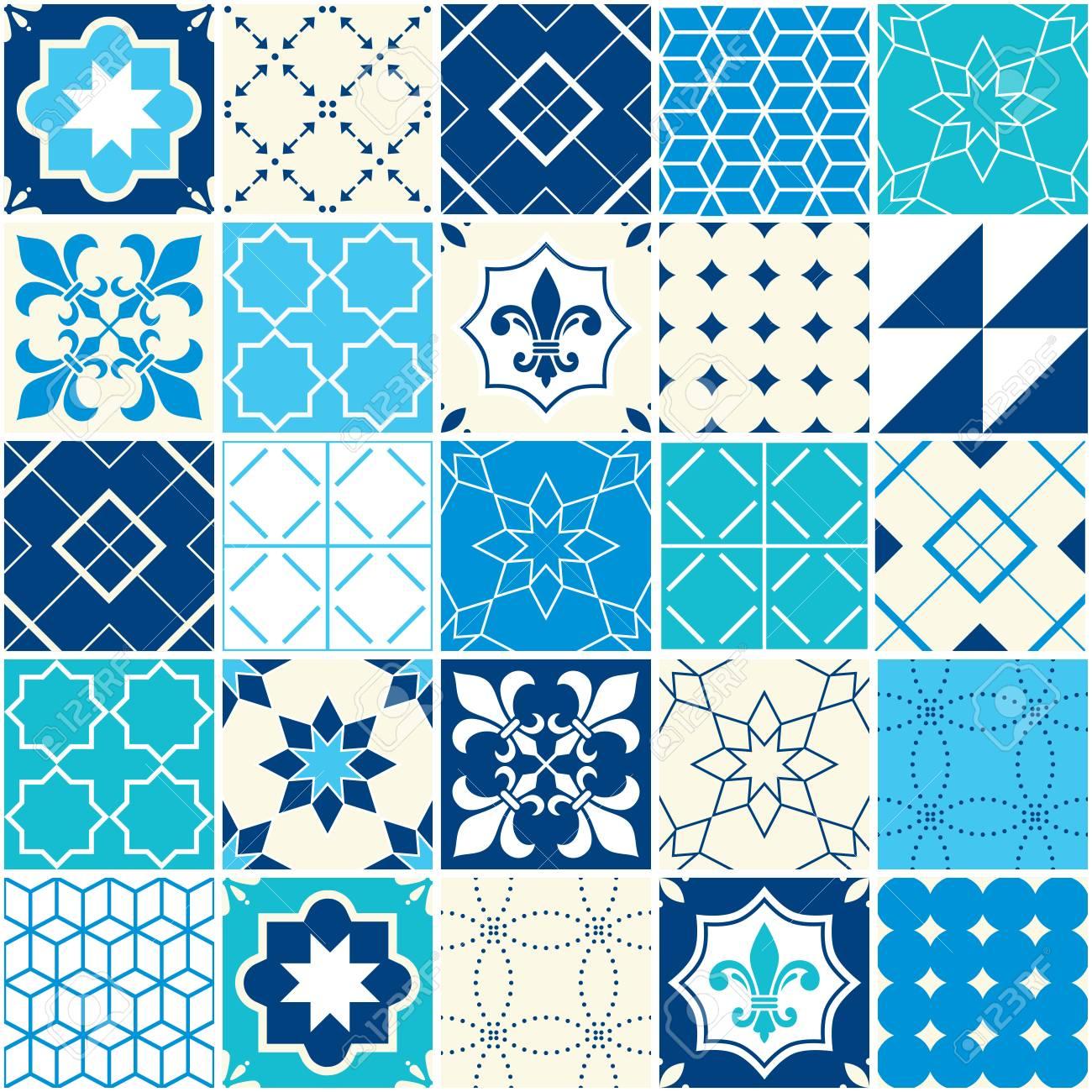 SeSeamless Blue Vector Tile Pattern, Azulejos Tiles, Portuguese ...