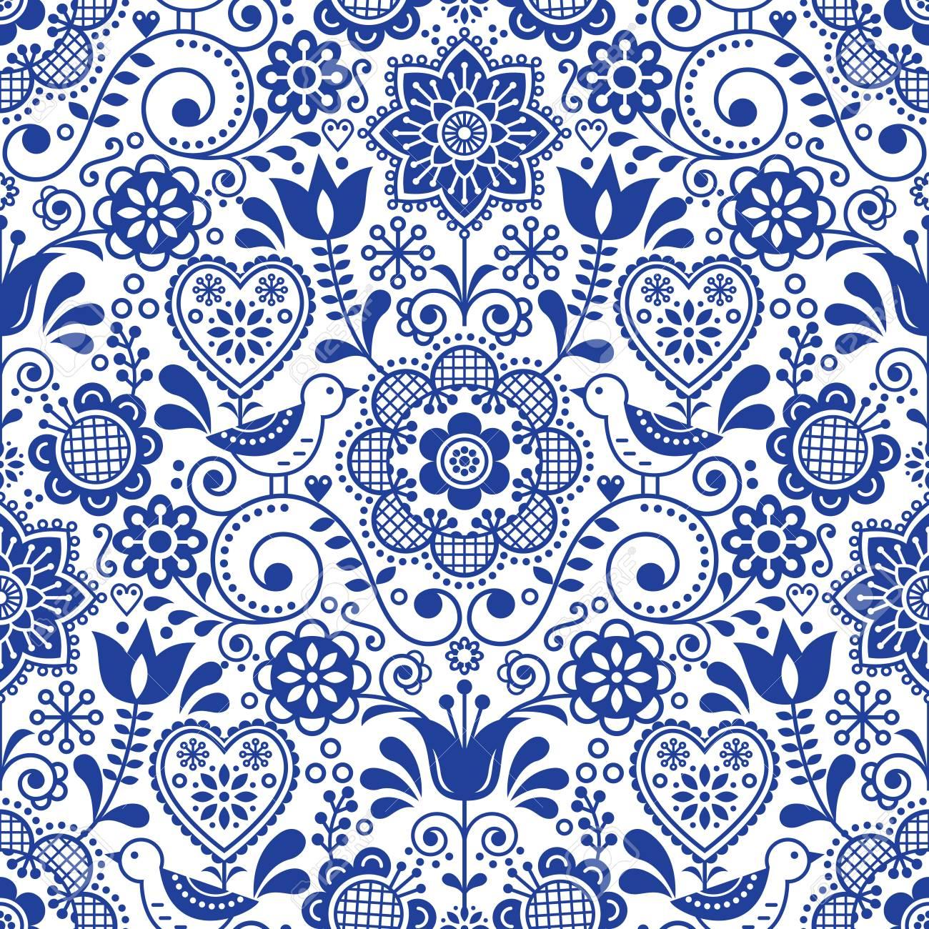 Seamless folk art pattern with birds and flowers, Scandinavian navy blue repetitive floral design - 96137192