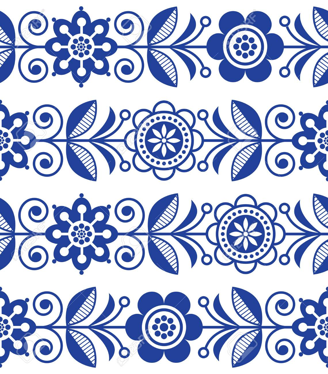 Folk Art Seamless Pattern Vector Floral Repetitive Design