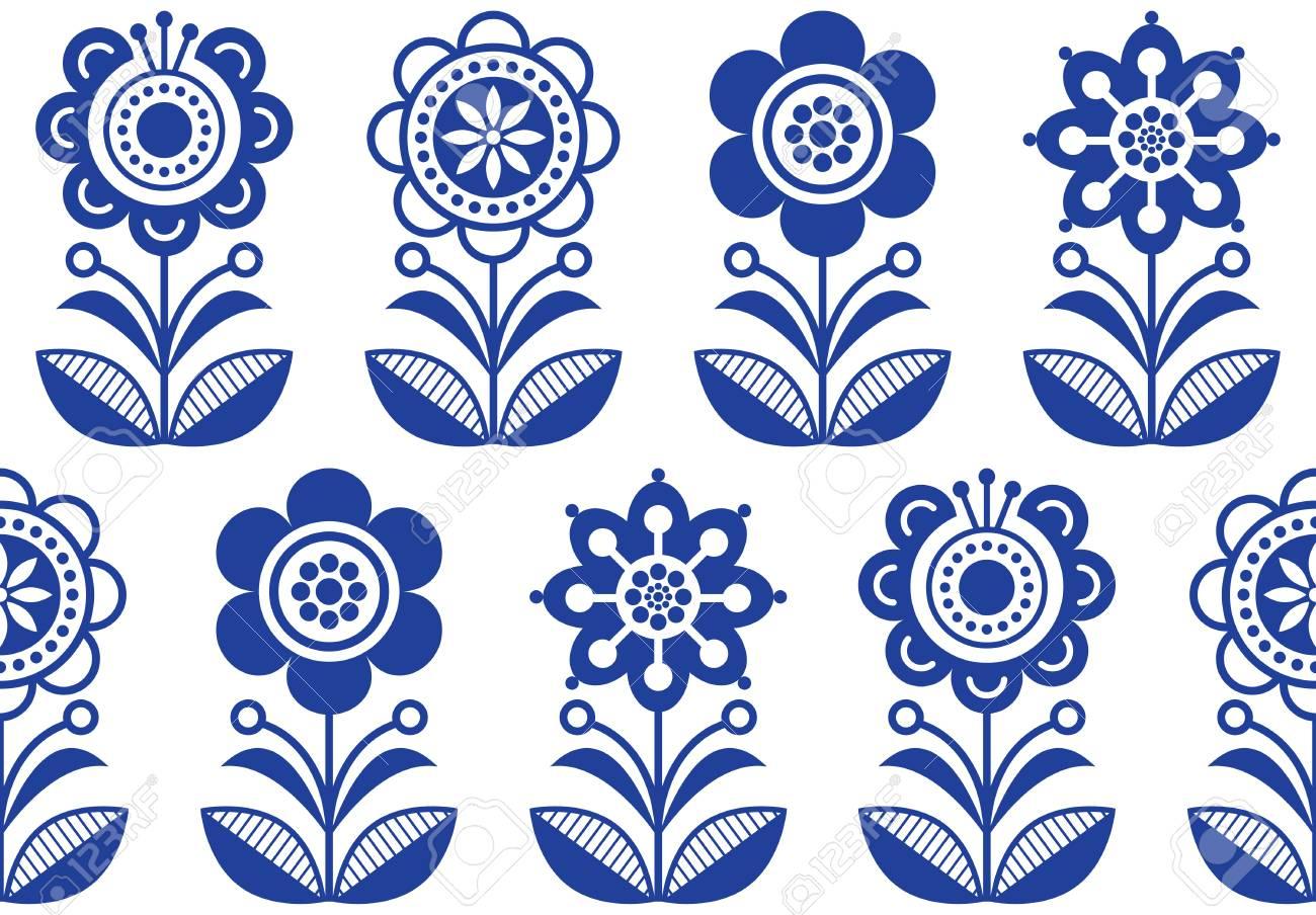 Folk art flowers, vector seamless floral pattern, Scandinavian..