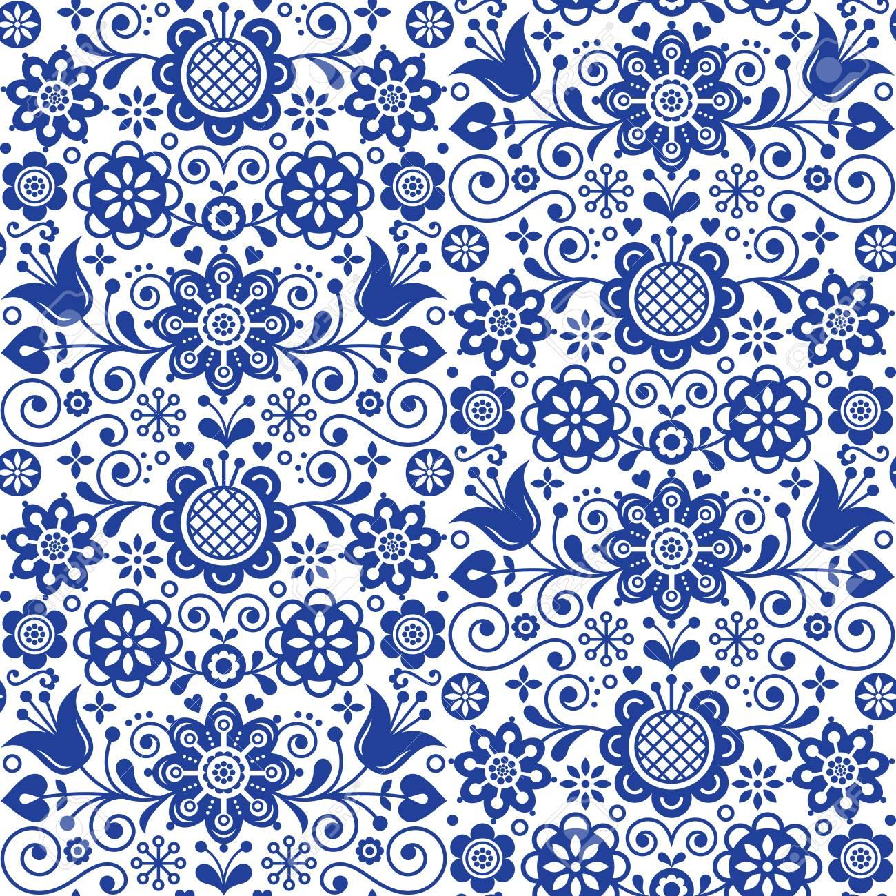 Floral Seamless Folk Art Pattern Scandinavian Navy Blue Repetitive
