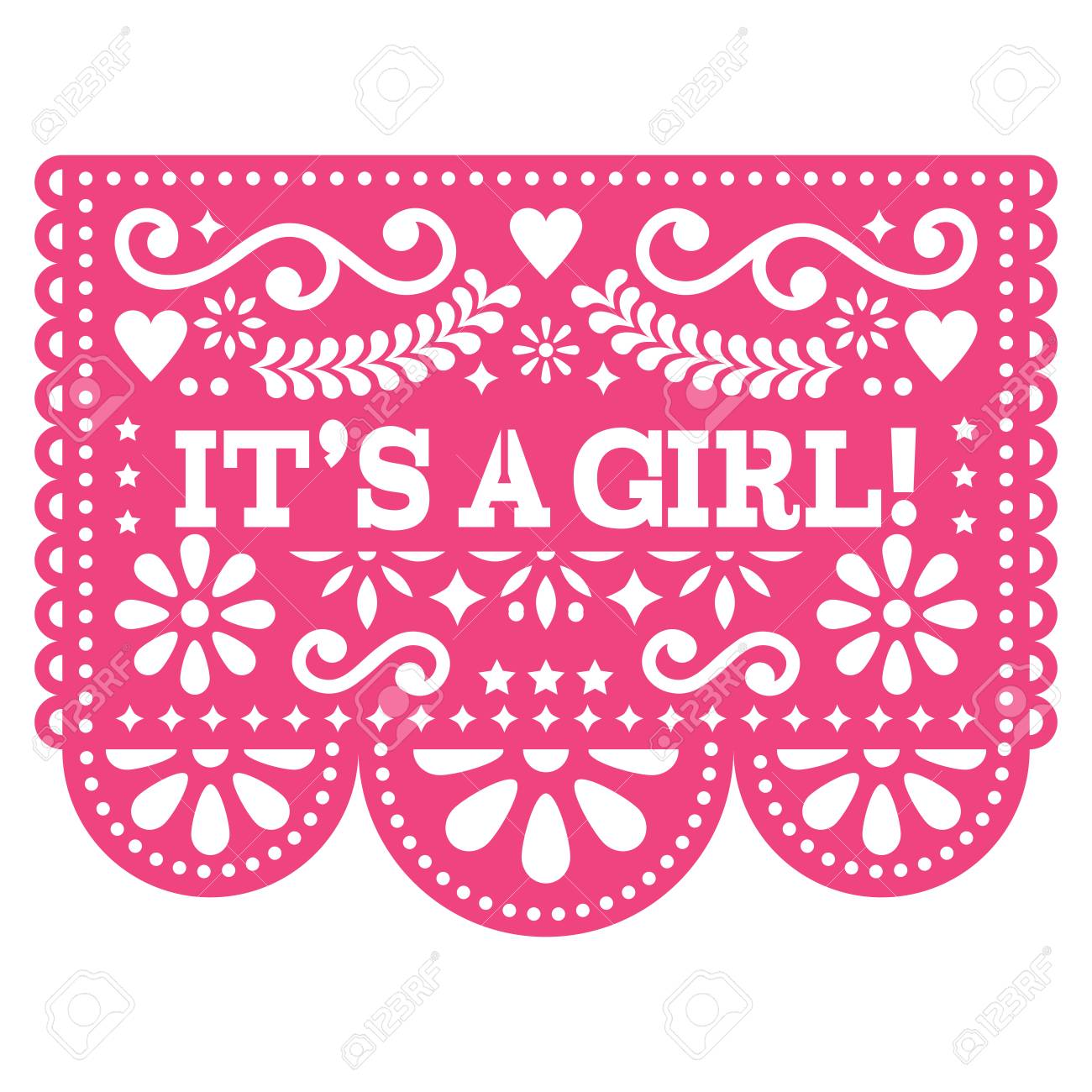 It S A Girl Papel Picado Vector Design Mexican Folk Art Baby