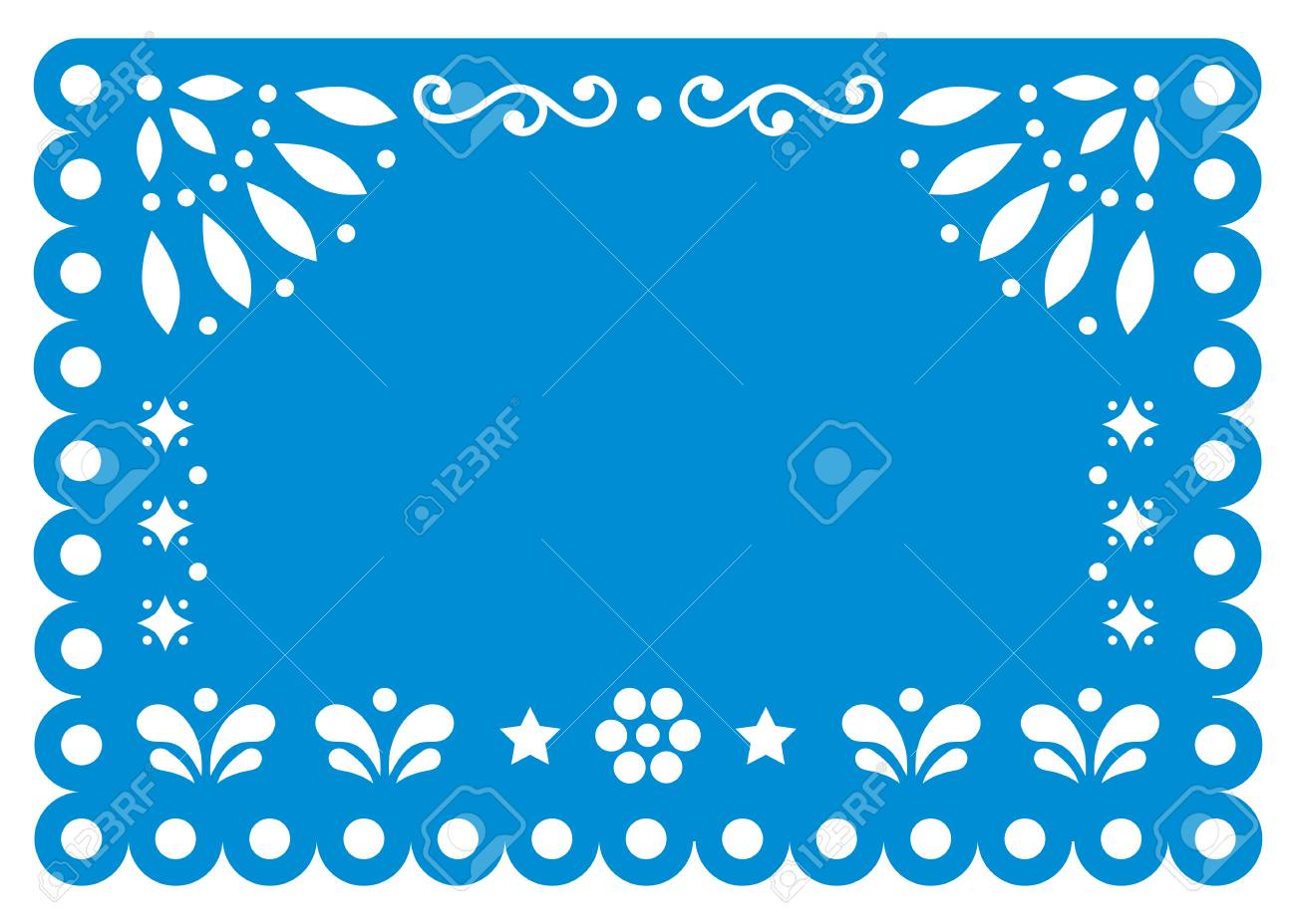 Papel Picado Template Design With Flowers And Geometric Shapes