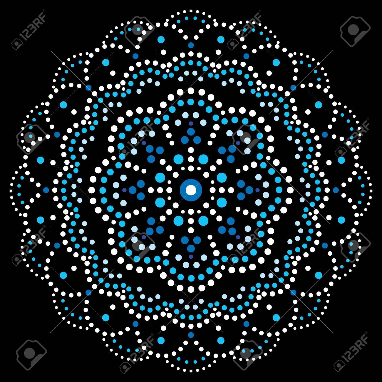 Mandala bohemian vector dot painting design, Aboriginal traditional decorative pattern, Australian mosaic art - 123172693