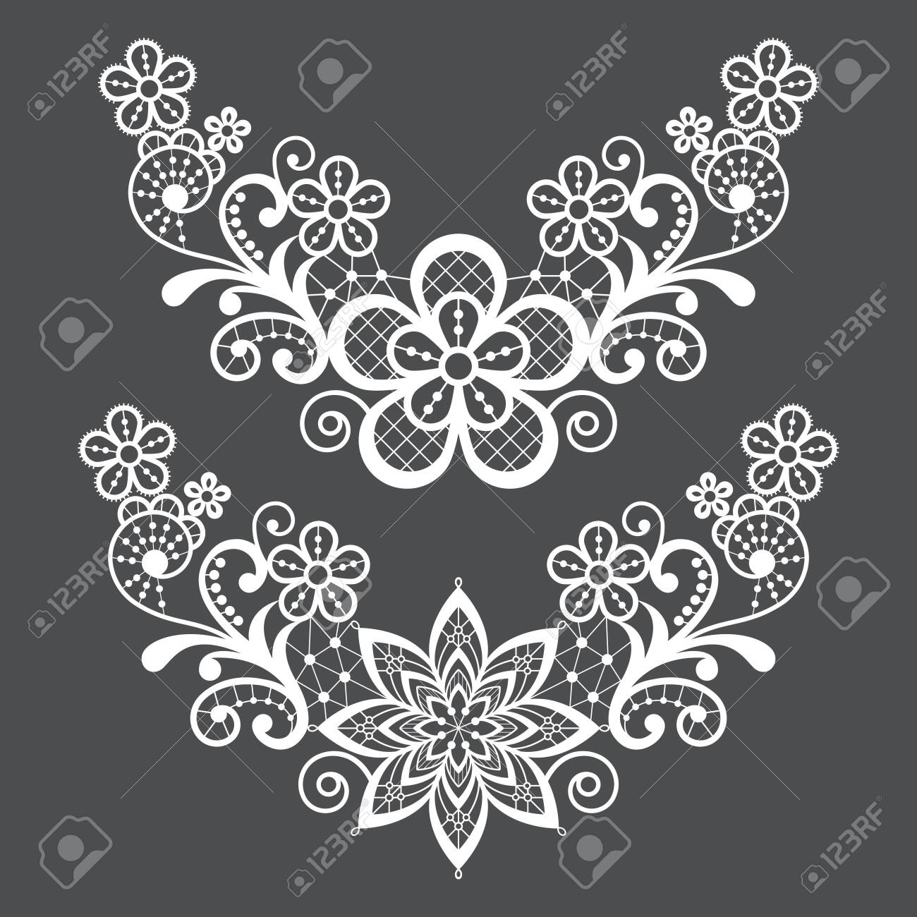 Lace single vector pattern set - floral lace half wreath, half circles design collection, retro openwork background - 124429073