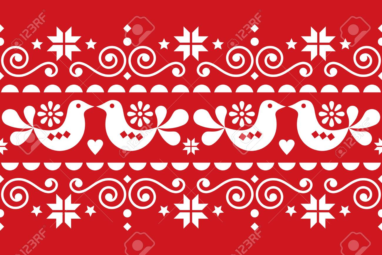 Christmas folk art vector seamless textile pattern, Scandinavian, Nordic festive pattern with birds, Christmas trees, snowflakes and hearts - 134175059