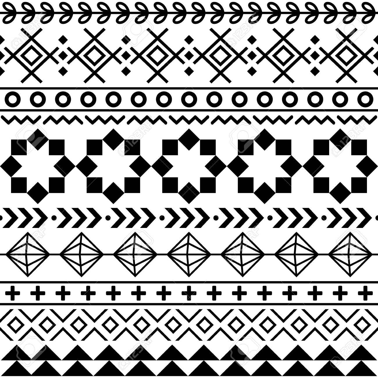 Tribal Aztec seamless geometric pattern, Navajo vector design in black pattern on white background - 141152304