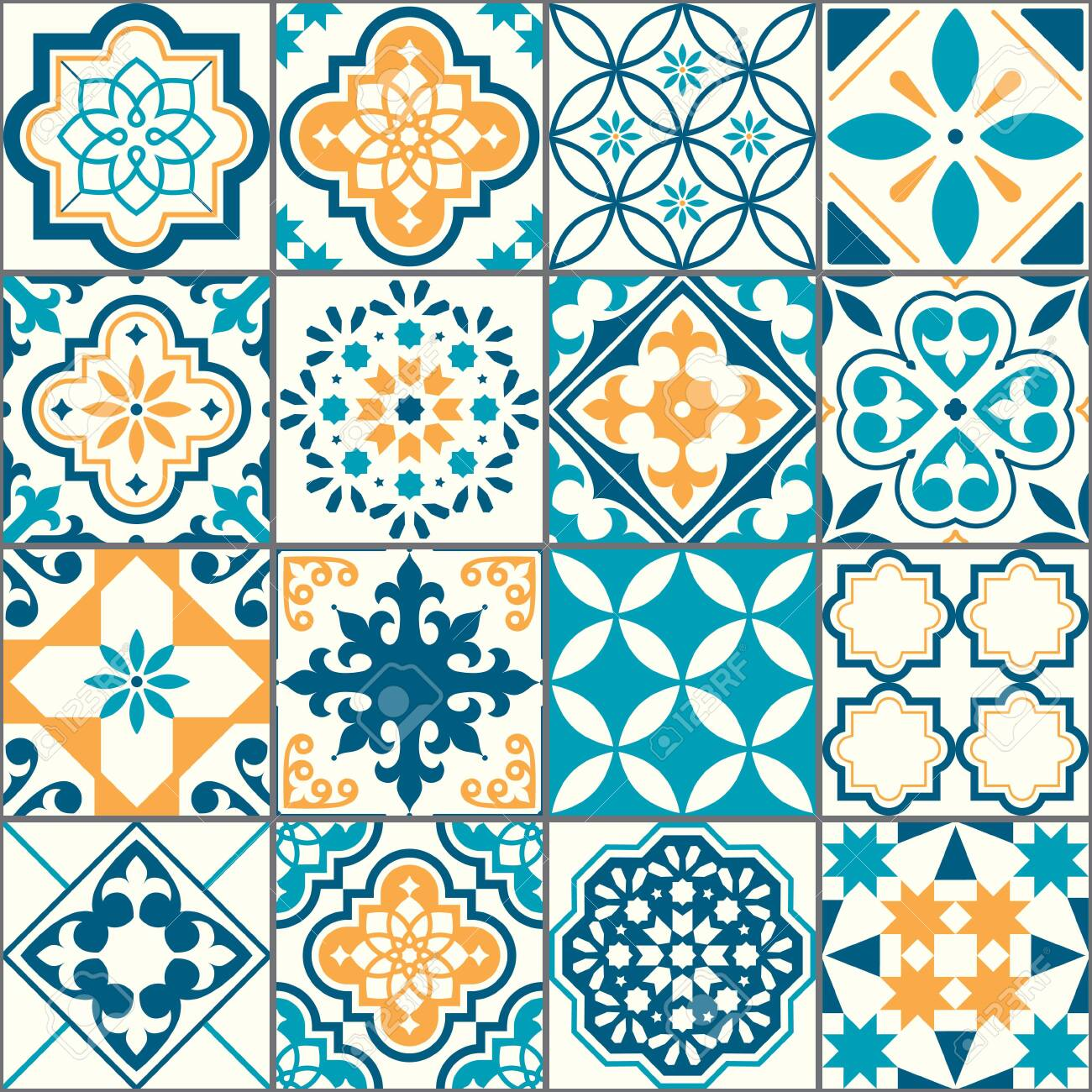 Portuguese or Spanish Azujelo vector seamless tiles design - Lisbon retro truquoise and yellow pattern, tile big collection - 141083170