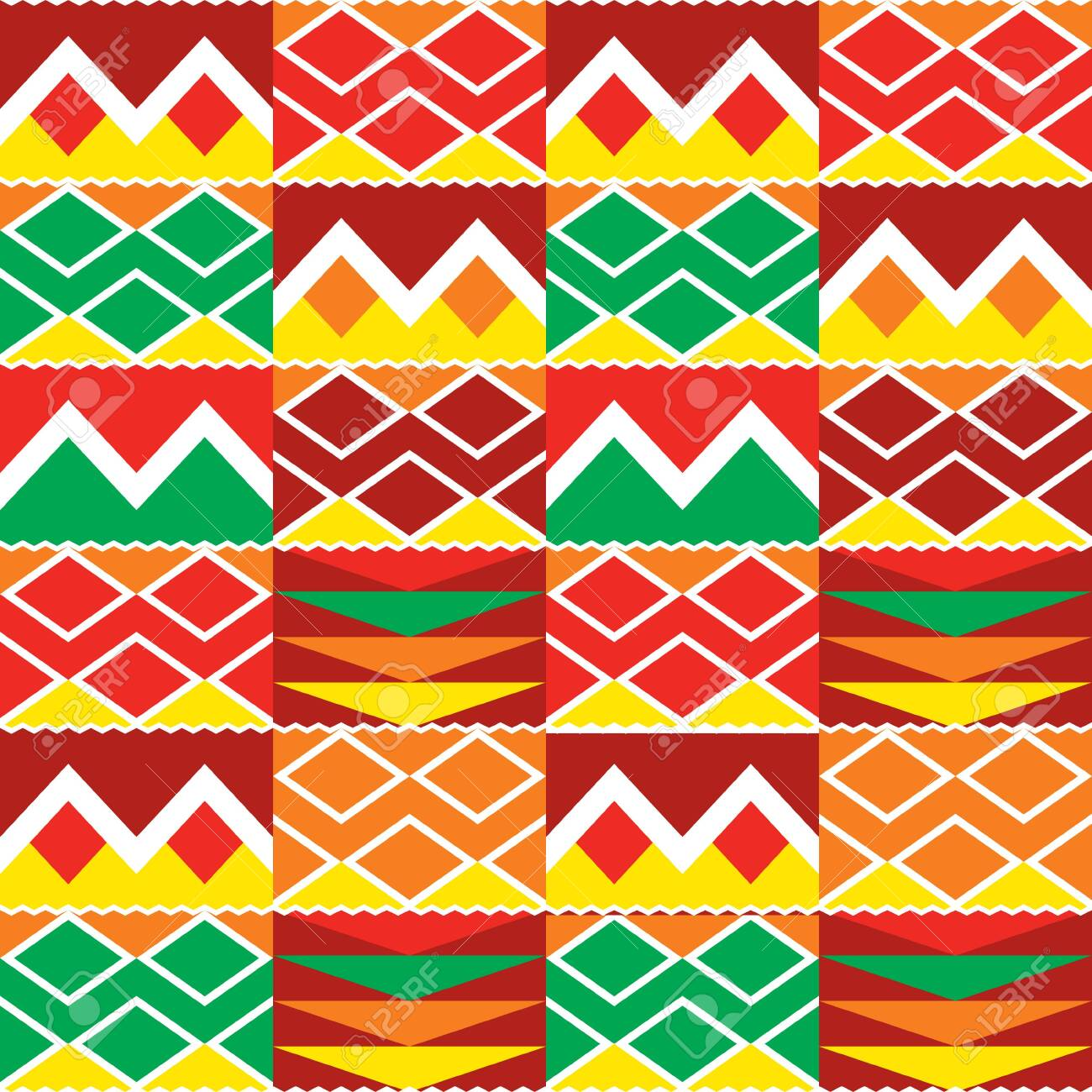 Tribal geometric seamless pattern, African Kente nwentoma cloth style vector textile design - 149856679