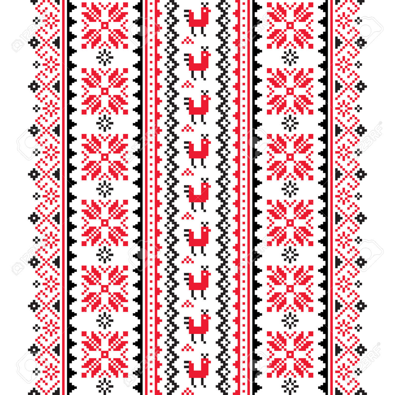 Ukrainian, Belarusian folk art vector seamless pattern in red and black, inspired by traditional cross-stitch design Vyshyvanka - 157050220