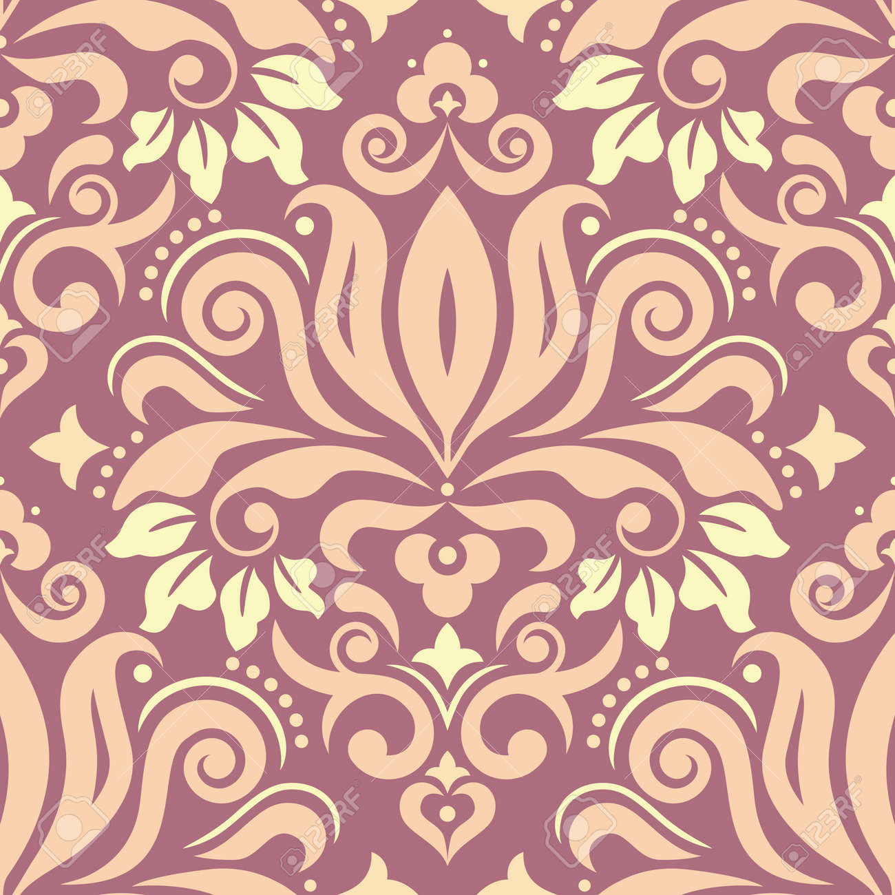 Royal Damask wallpaper of fabric print pattern, retro textile vector design with flowers, leaves and swirls - 168070548
