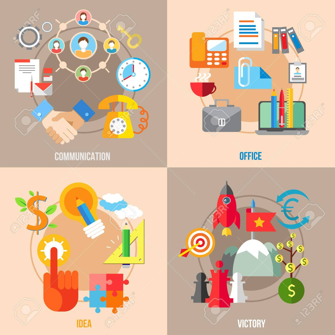 Set Of Flat Design Concepts Of Business Communication, Office, Idea,  Victory On Colored