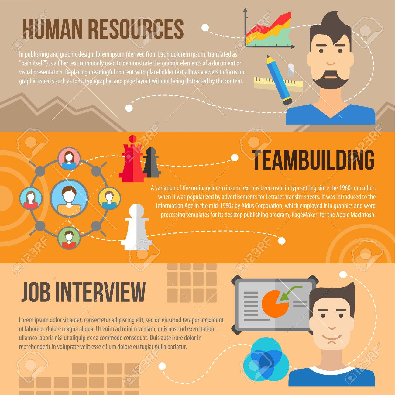 set of flat design concepts of human resources teambuilding set of flat design concepts of human resources teambuilding and job interview on colored background