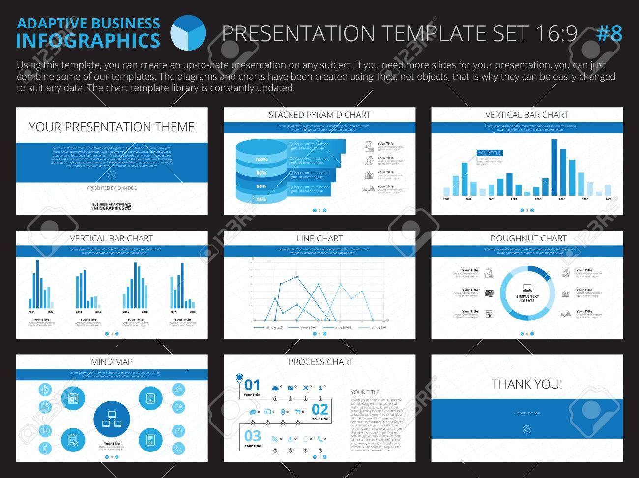 Set Of Editable Infographic Presentation Templates With Graphs – Graphs and Charts Templates