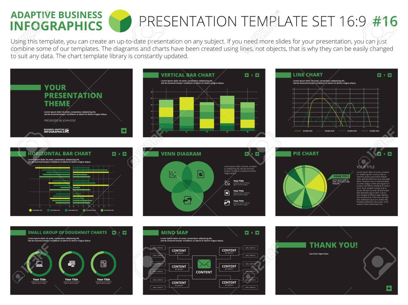 Set Of Editable Infographic Presentation Templates With Graphs ...
