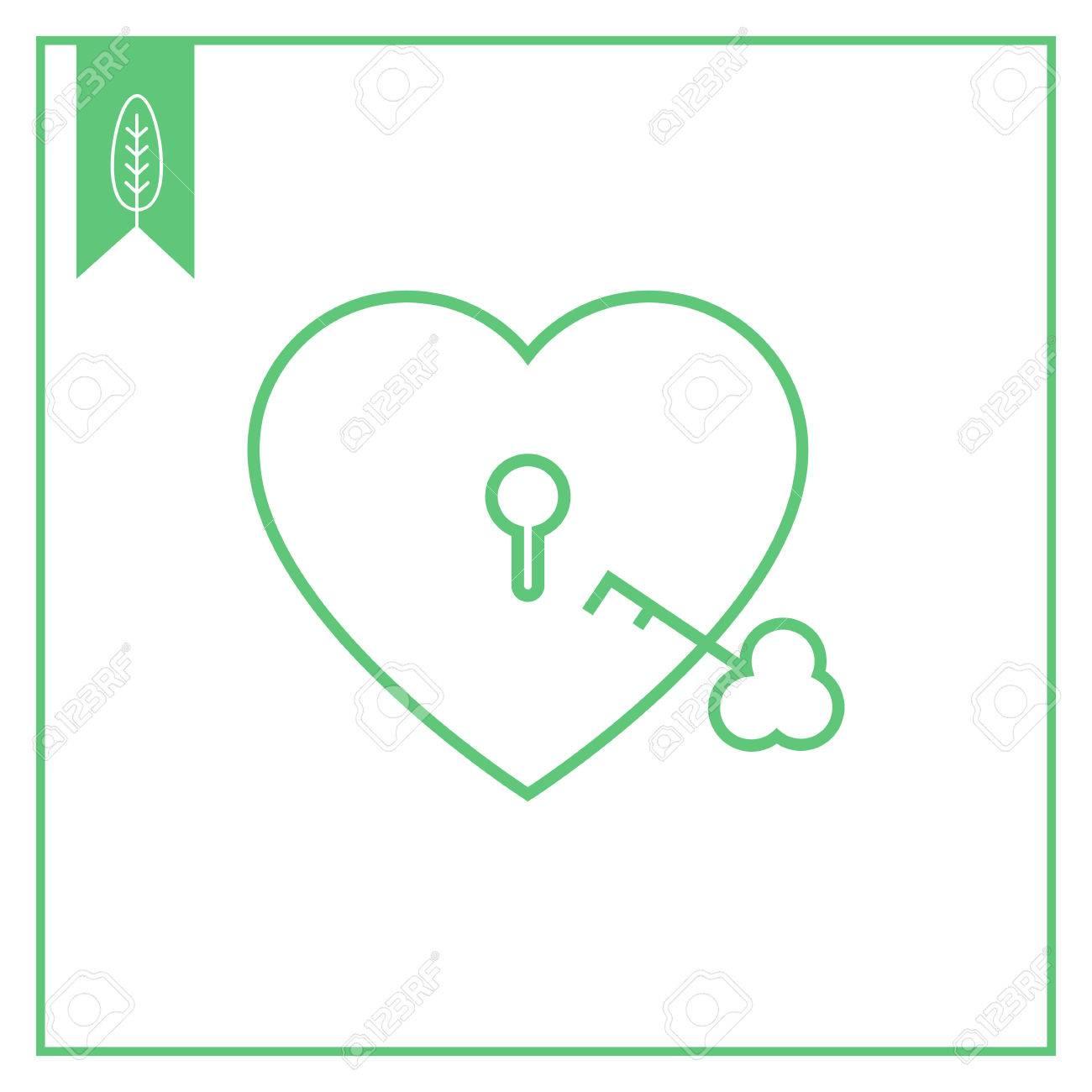 Icon Of Heart Shaped Padlock With Key Royalty Free Cliparts Vectors