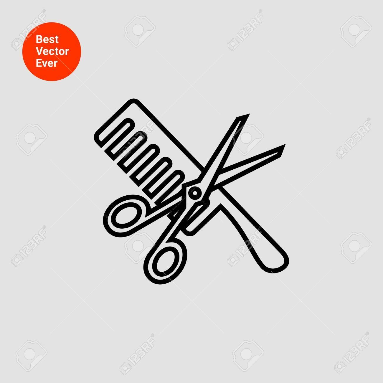 icon of crossed scissors and comb royalty free cliparts vectors rh 123rf com Scissor Knife Crossed Logos Open Scissors