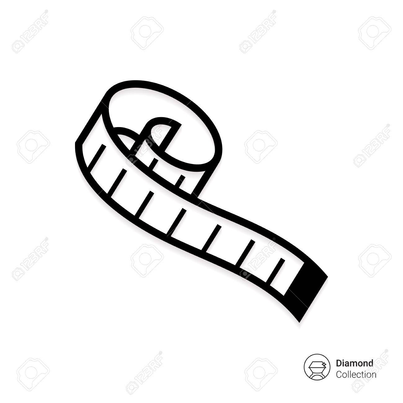 Clip Art: Tools: Tape Measure B&W I abcteach.com | abcteach