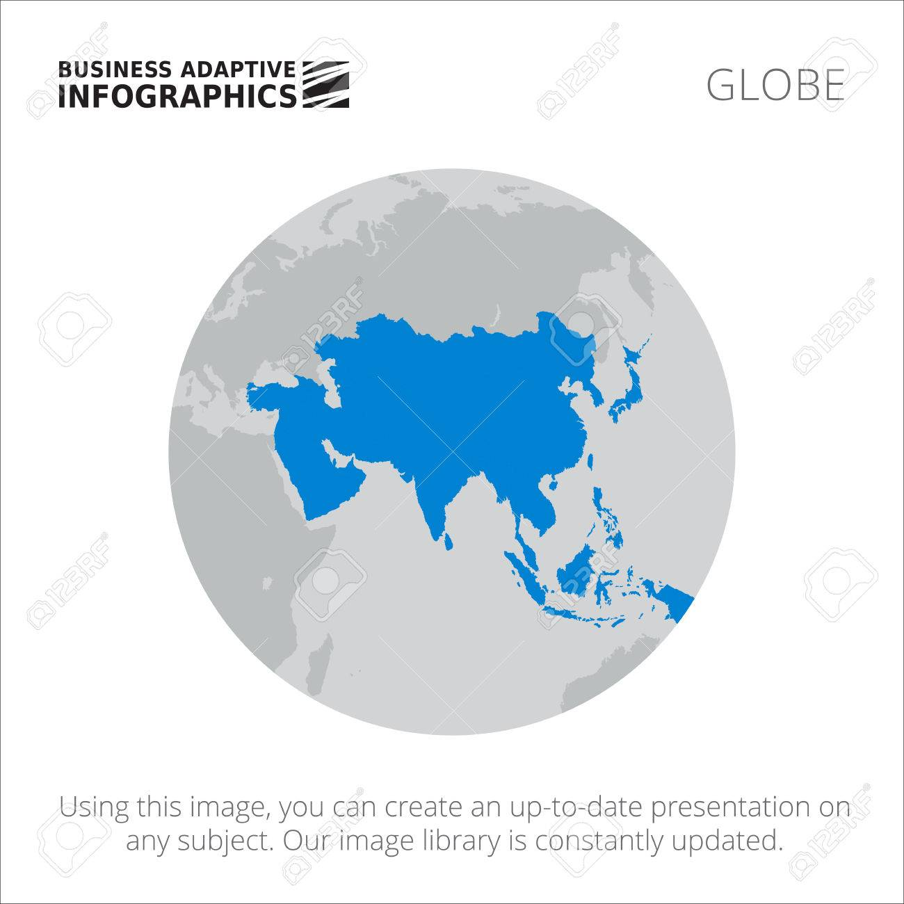 Map Of Asia Template.Presentation Template With Map Of Asia On Earth Globe