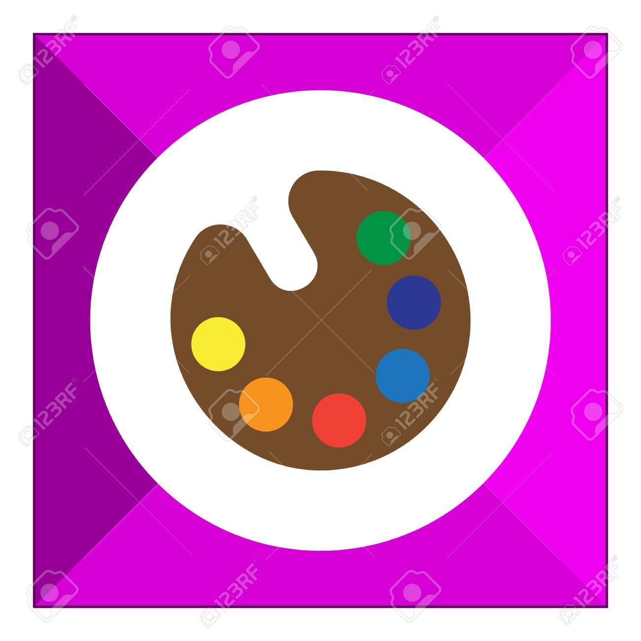Vector Icône Palette De Dessin Avec Des échantillons De Peinture De Vaus