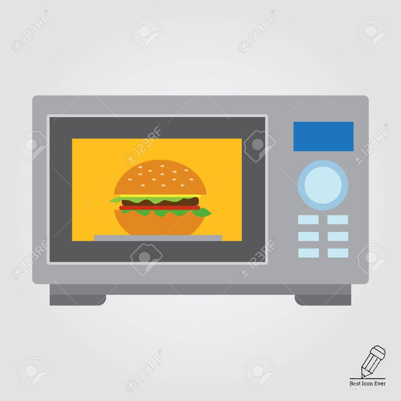 Cuisine Four Micro Onde vector icône de cuisine four micro-ondes avec un hamburger intérieur