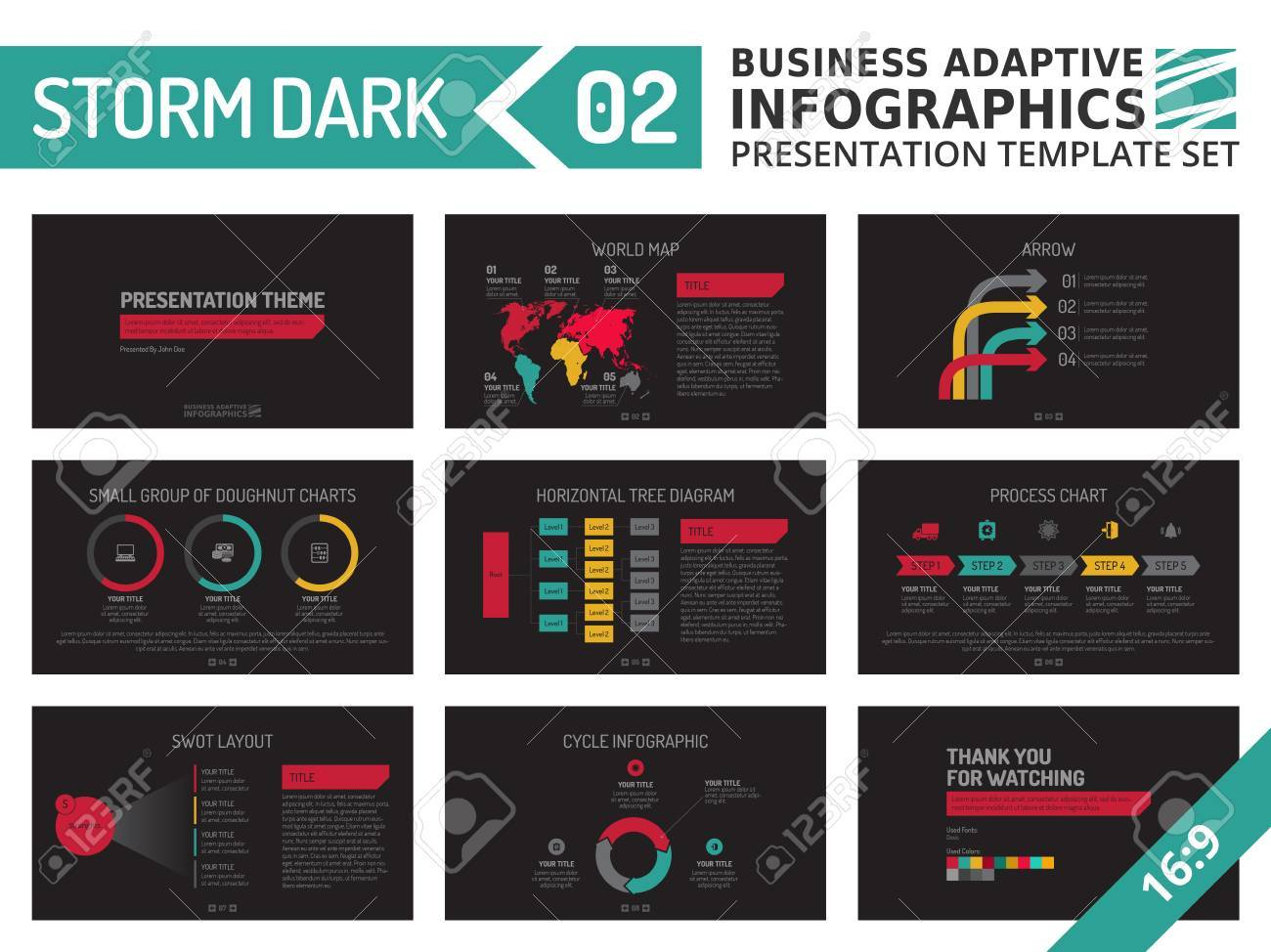 Set Of Editable Multicolored Infographic Presentation Template ...