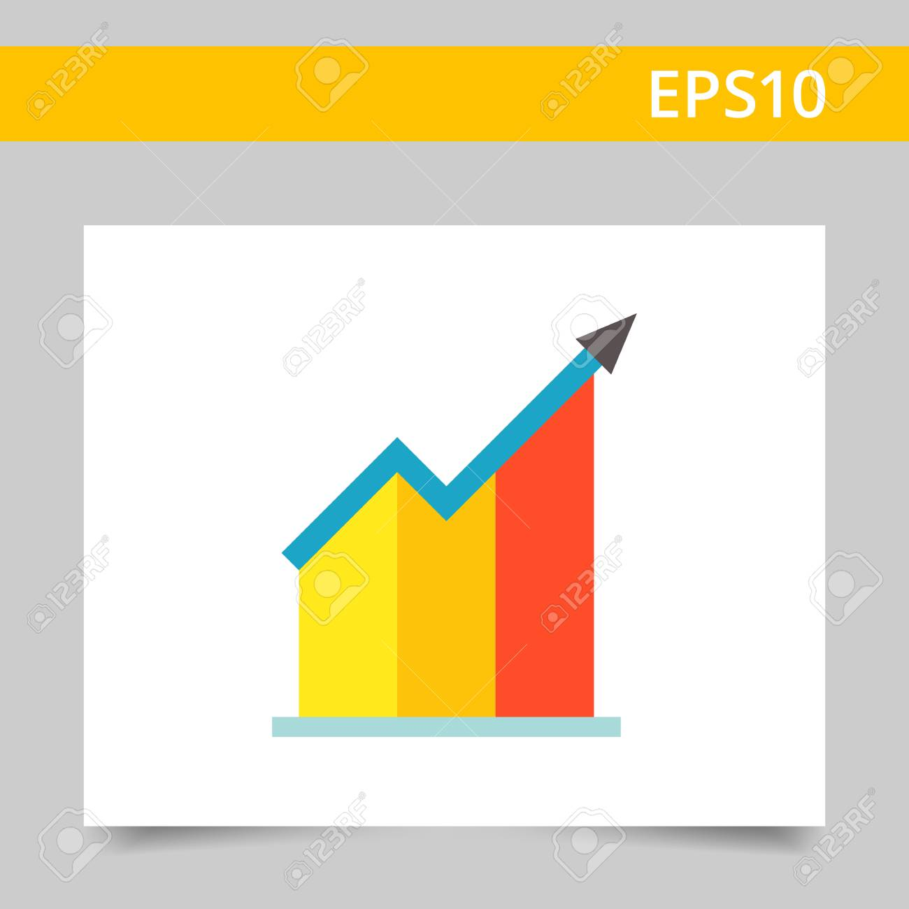 vector icon of growing bar chart with arrow royalty free cliparts