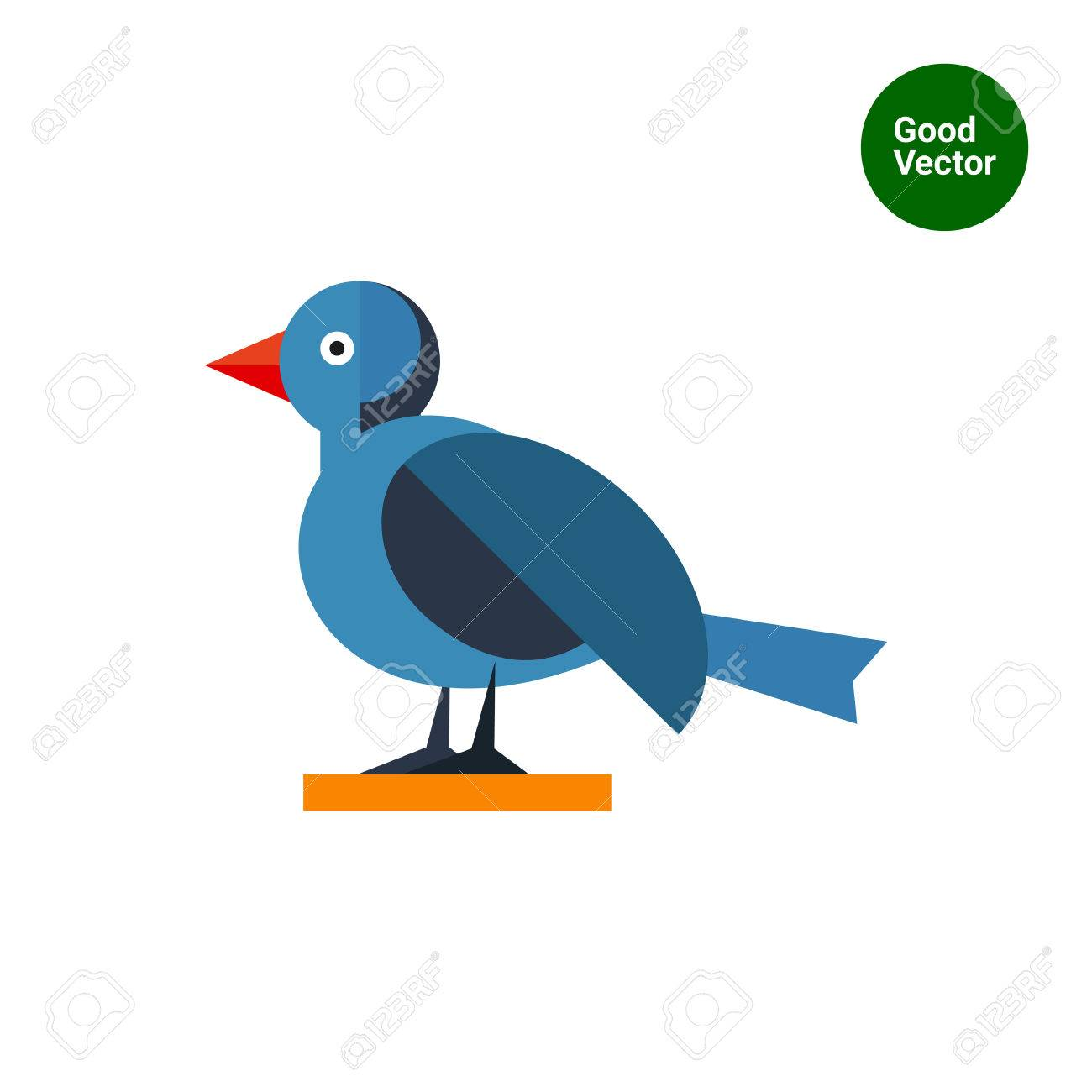 Multicolored vector icon of blue bird, side view - 52061482