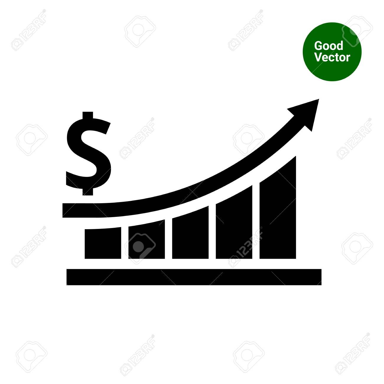 vector icon of growing bar chart with arrow and dollar sign royalty