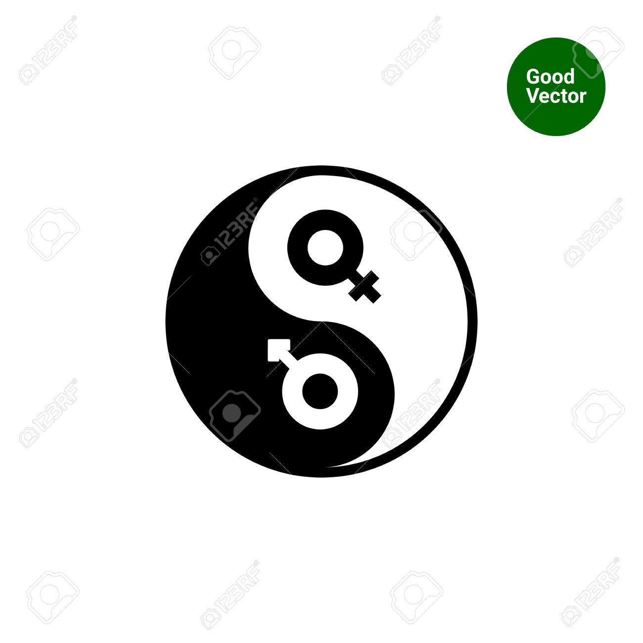 Vector Icon Of Yin Yang Symbol With Male And Female Gender Signs