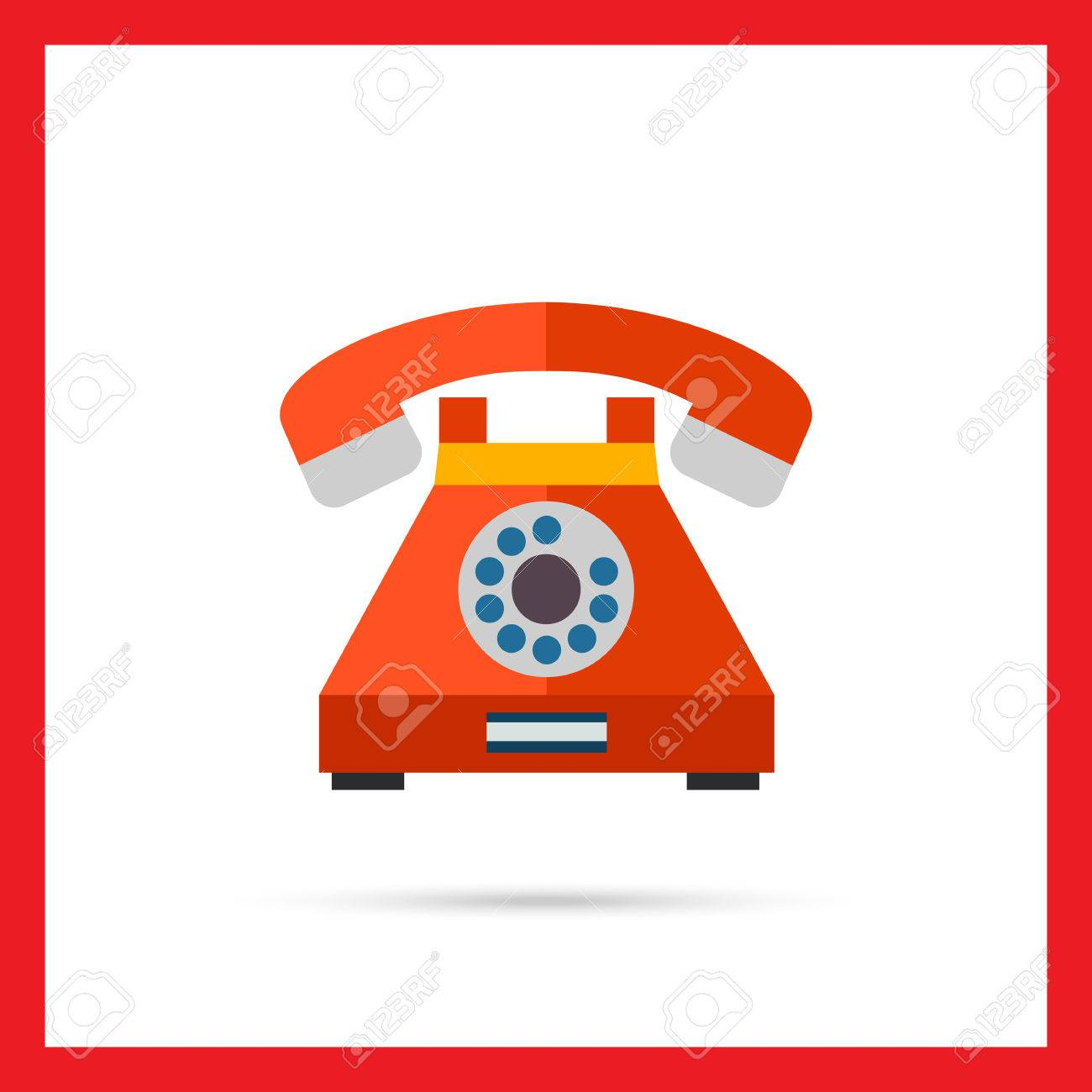 Multicolored vector icon of retro telephone with dialing disk - 53827928