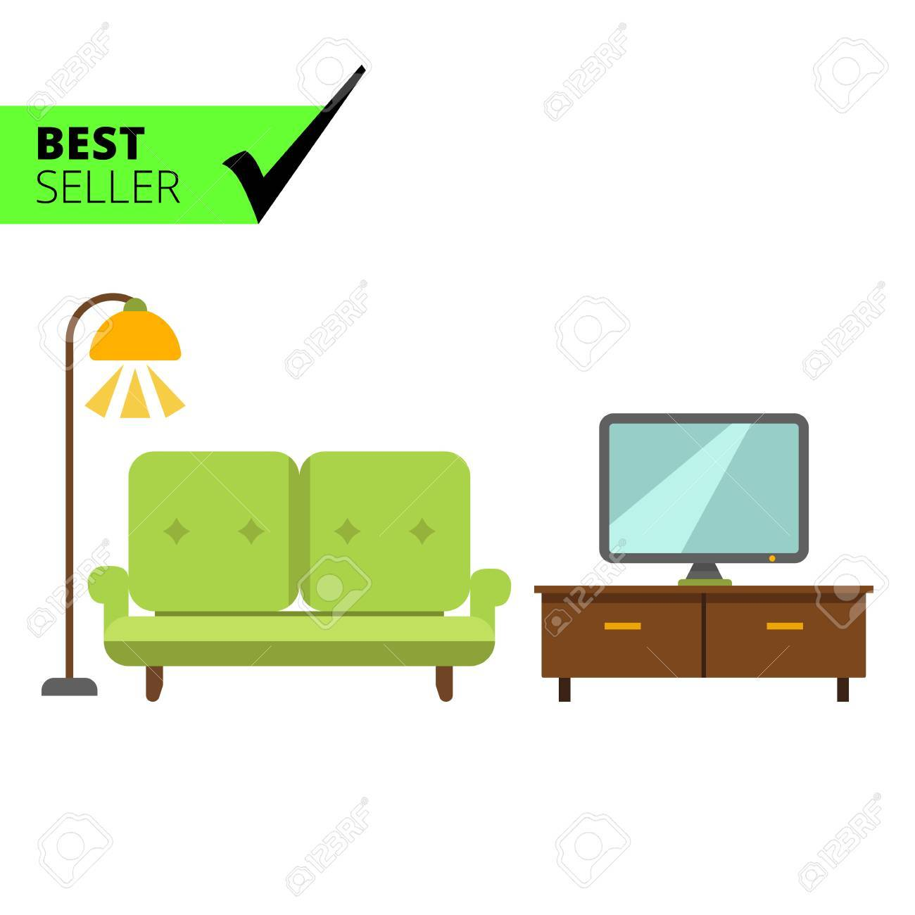 Living Room Sets Including Tv icon of living room interior including couch, tv stand, tv-set