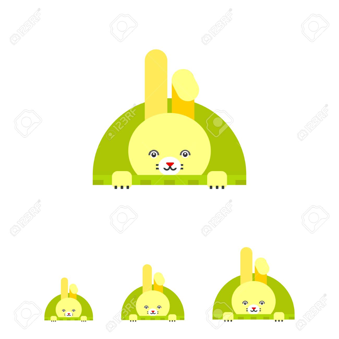 Icon Of Cute Yellow Easter Bunny With One Folded Ear In Green