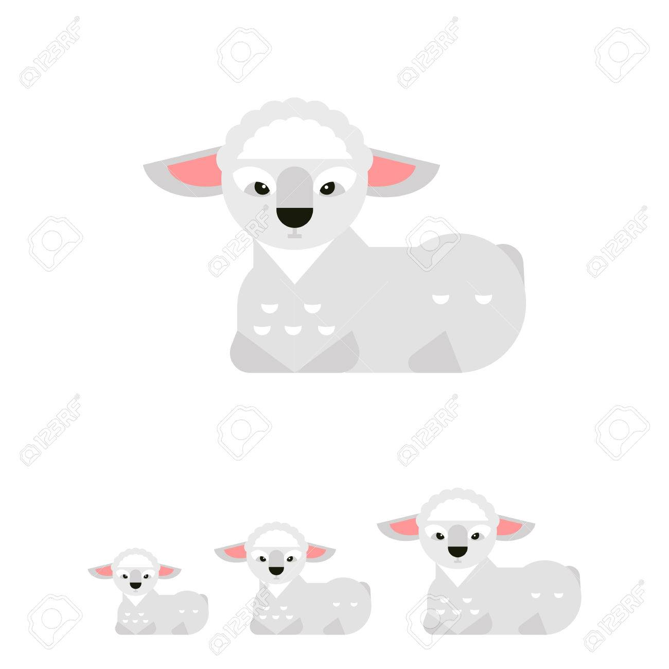 Icon Of Little Cute Cartoon White Lamb With Pink Ears And Black ...