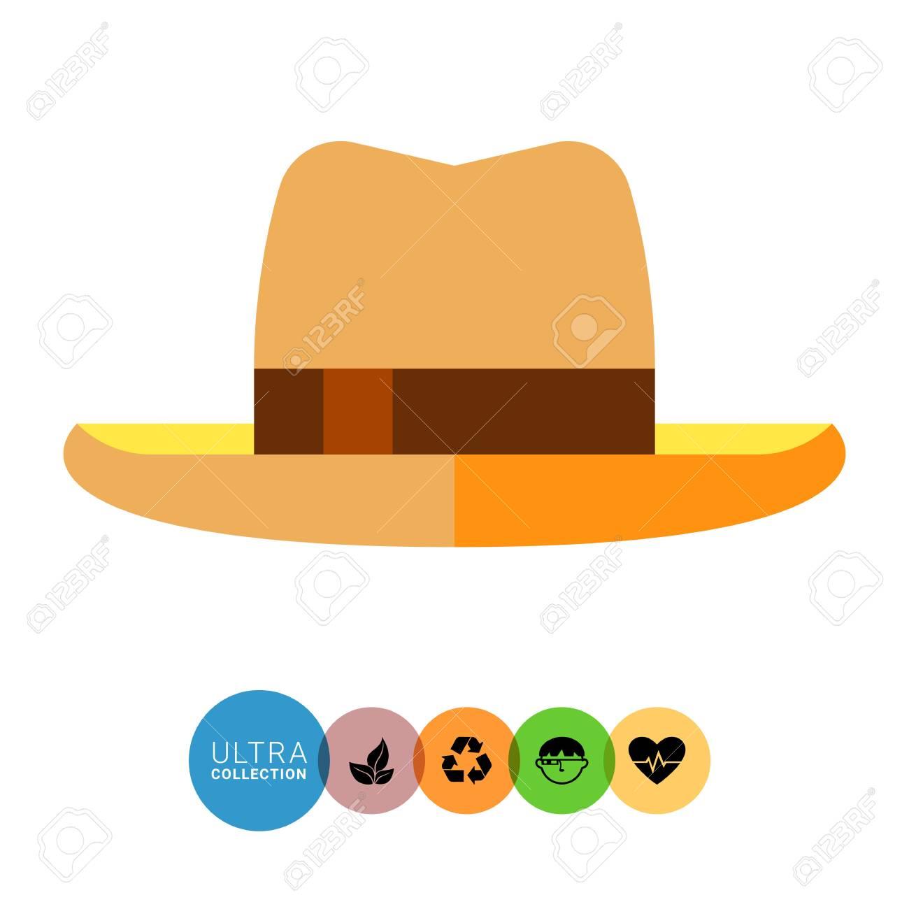 434362b84849 Icono plano de sombrero de verano para hombre. Ilustración de vector  multicolor del sombrero de protección contra el sol