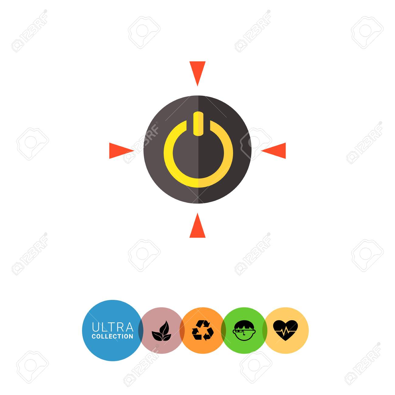 Multicolored Vector Icon Of Yellow Power Symbol In Black Circle