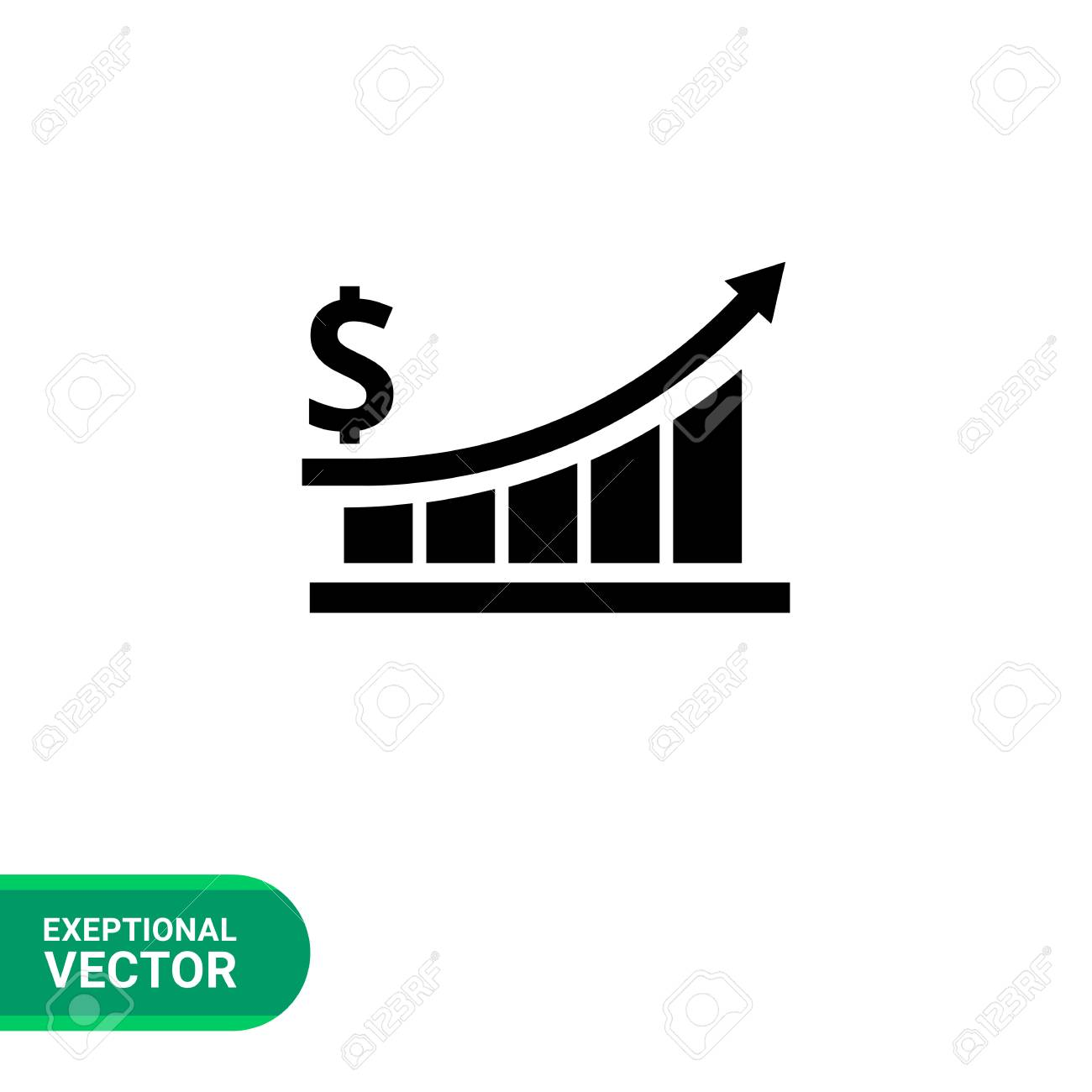 vector icon of growing bar chart with arrow and dollar sign stock