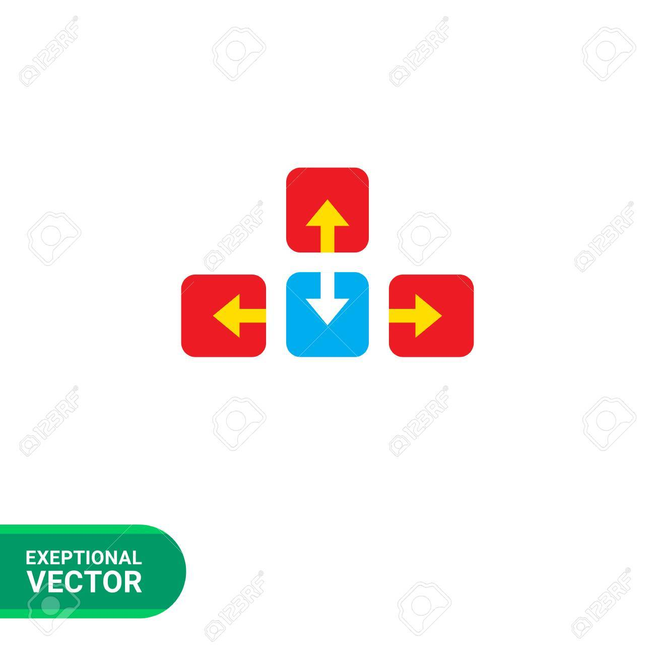 Icon Of Colored Keyboard Arrow Buttons Royalty Free Cliparts