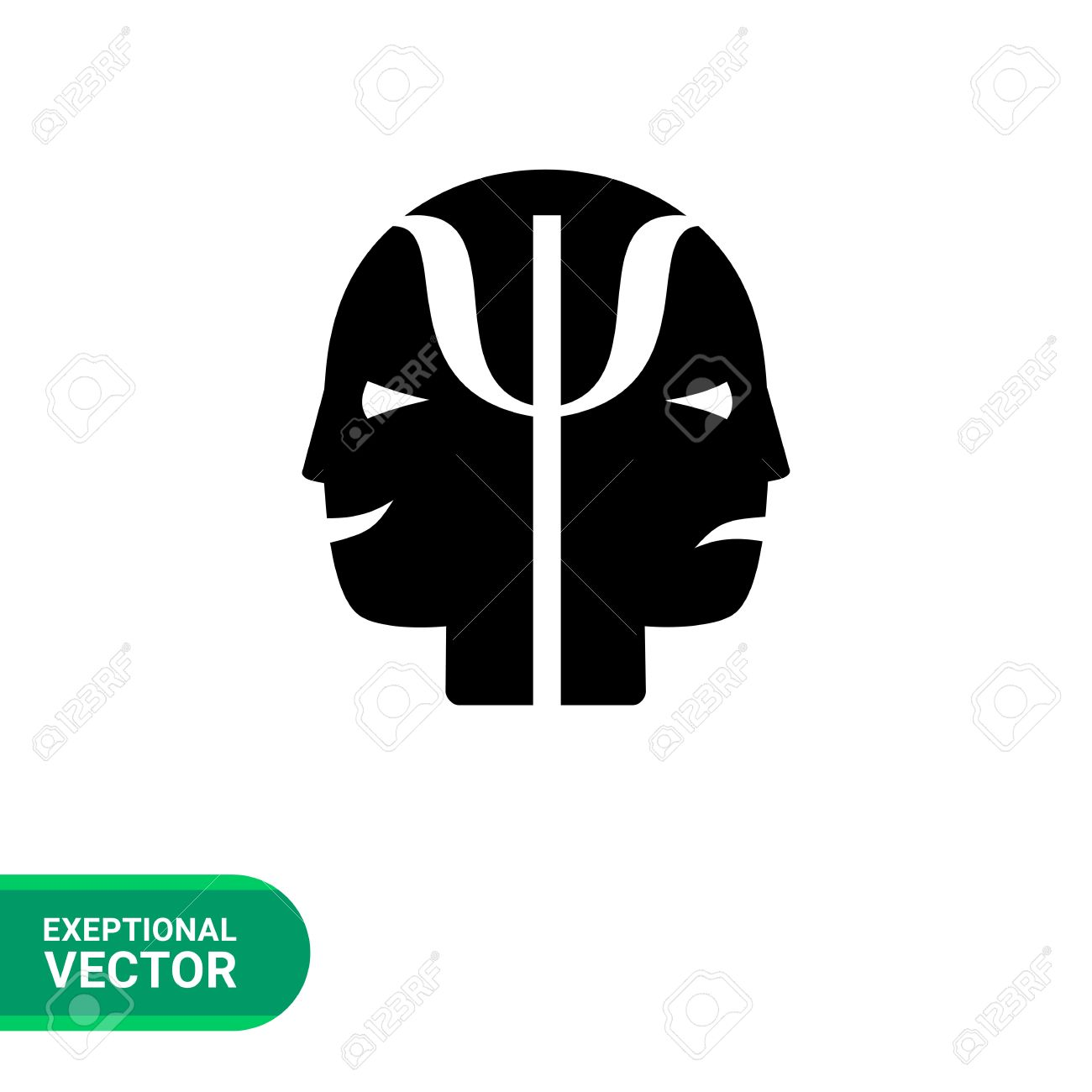 Monochrome vector icon of two human faces with joy and sadness monochrome vector icon of two human faces with joy and sadness expressions representing psychology concept stock biocorpaavc