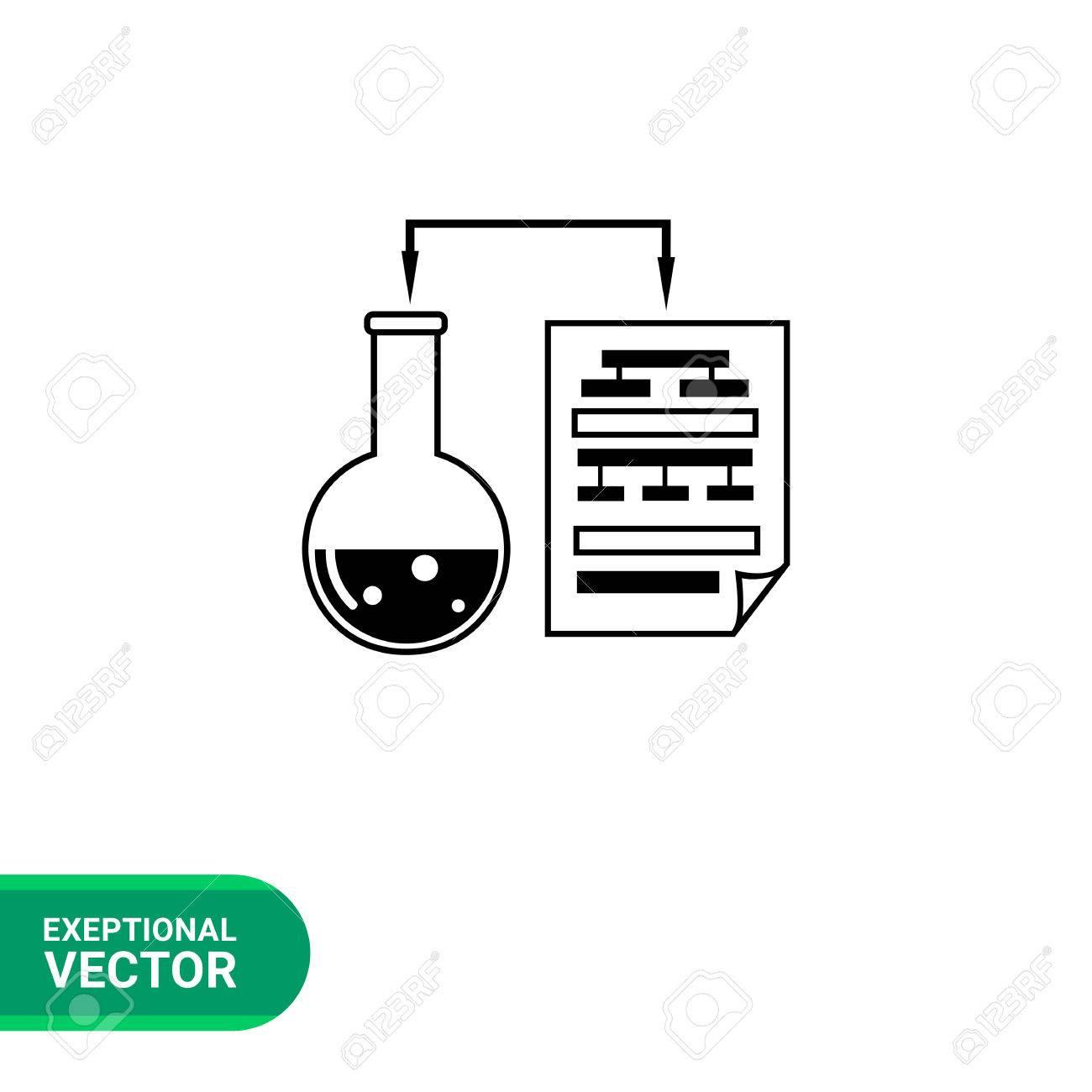 Monocromático Del Vector Del Icono Del Experimento De Laboratorio ...