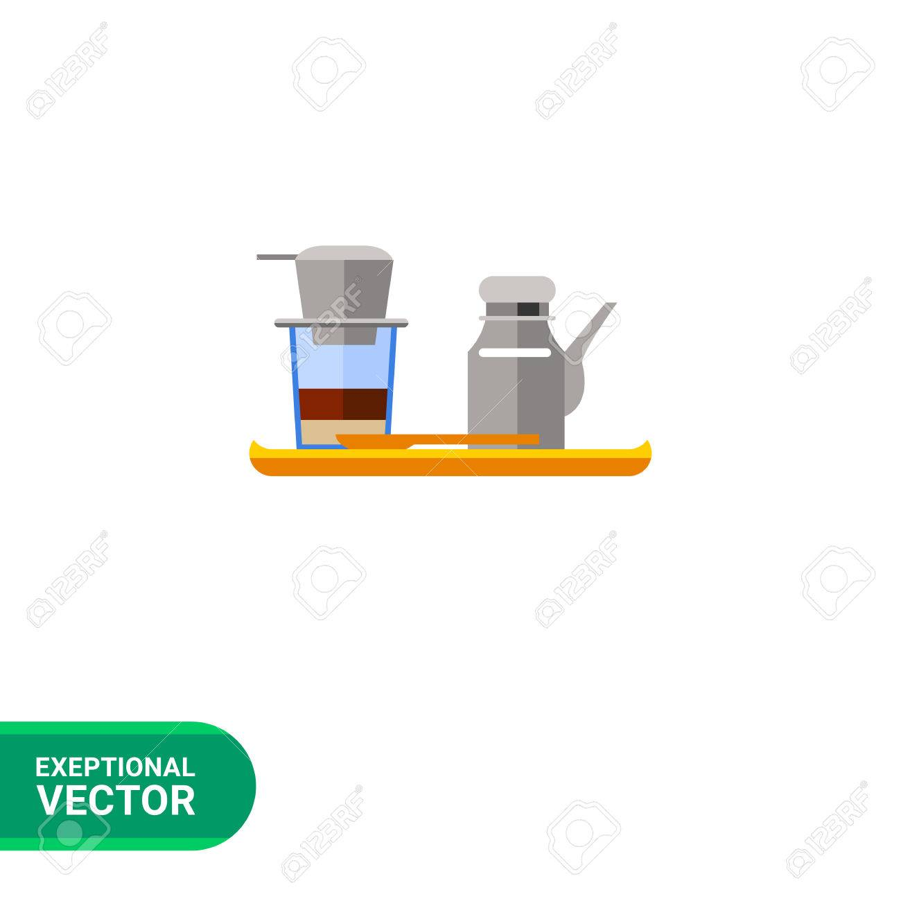Icon Of Vietnamese Coffee Set Coffeepot And Cup With Filter Royalty Free Cliparts Vectors And Stock Illustration Image 59604624