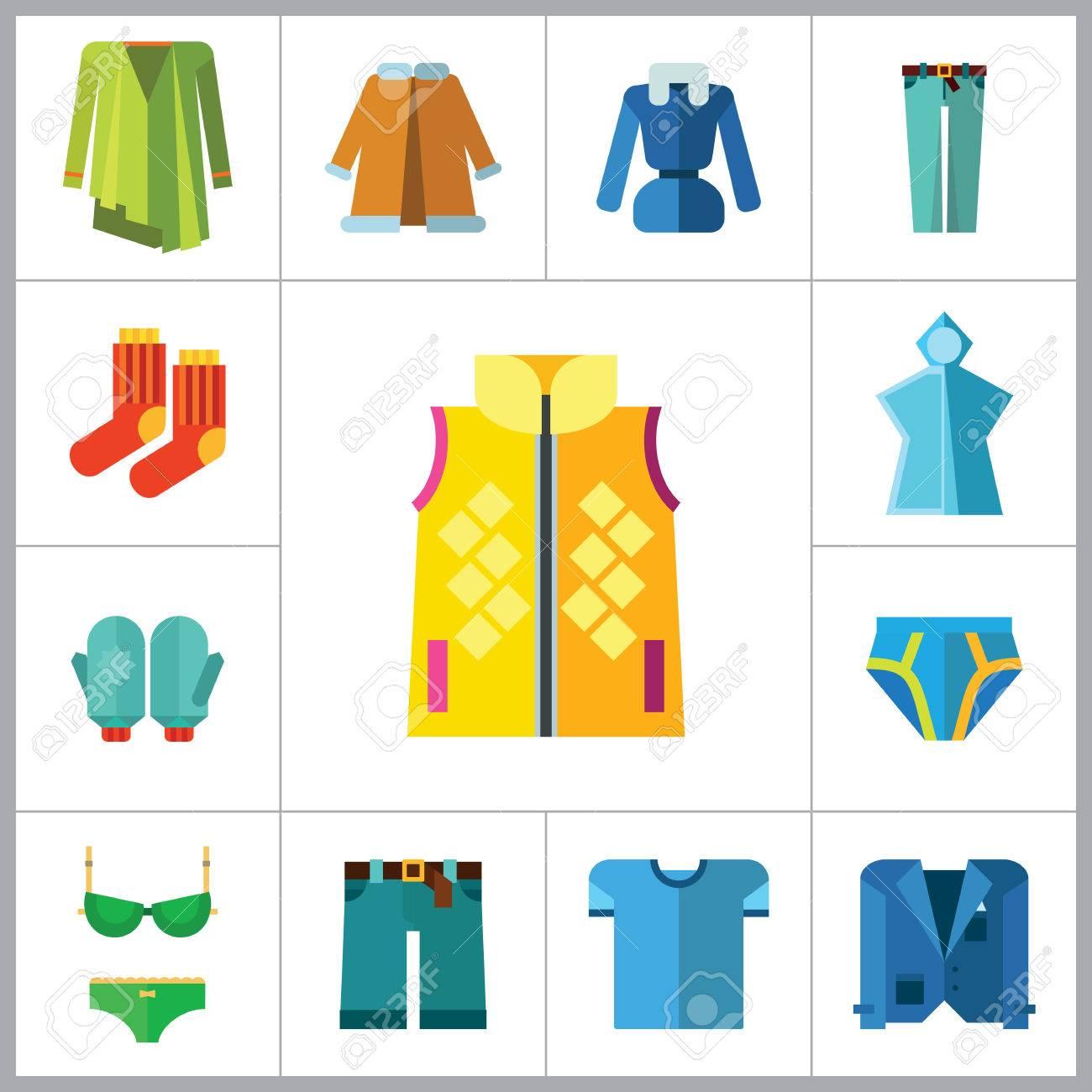 5a4eaf0c626 Banque d images - Vêtements Icon Set. T-shirt Chaussettes Gants Homme  Caleçon pluie Poncho Femme Sous-vêtements Denim Shorts Jeans Veste Manteau  Vêtements ...