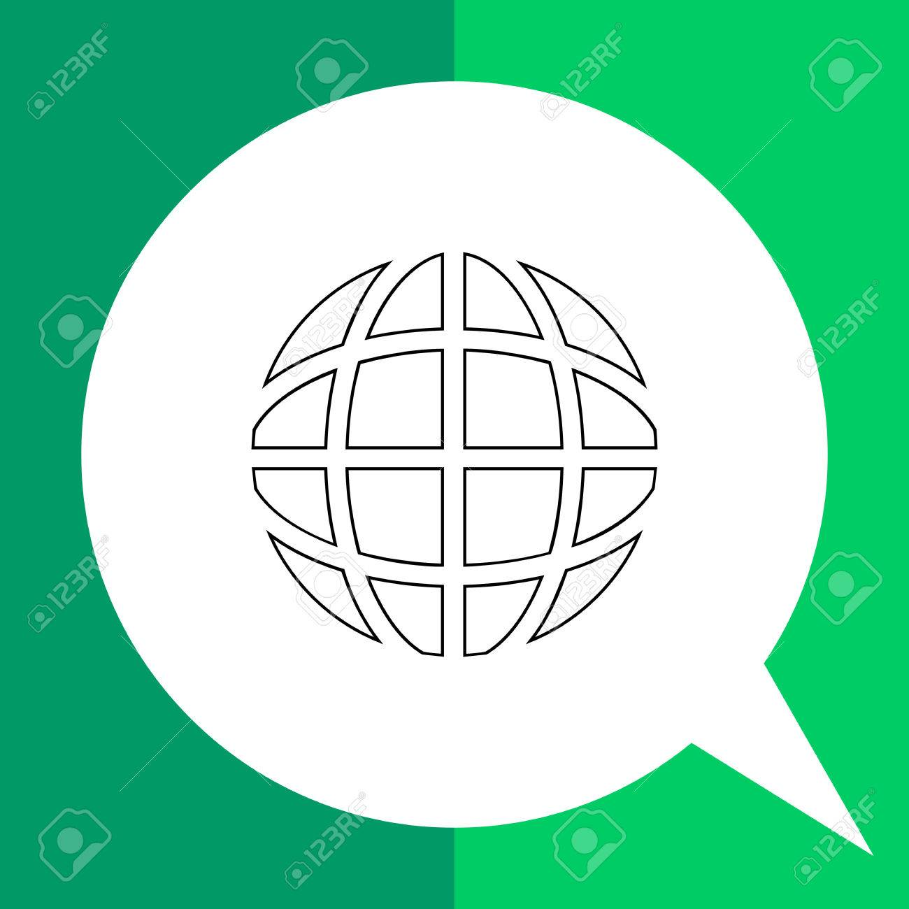 Vector   Vector Line Icon Of Globe With Longitude And Latitude Lines  Representing Internet Concept