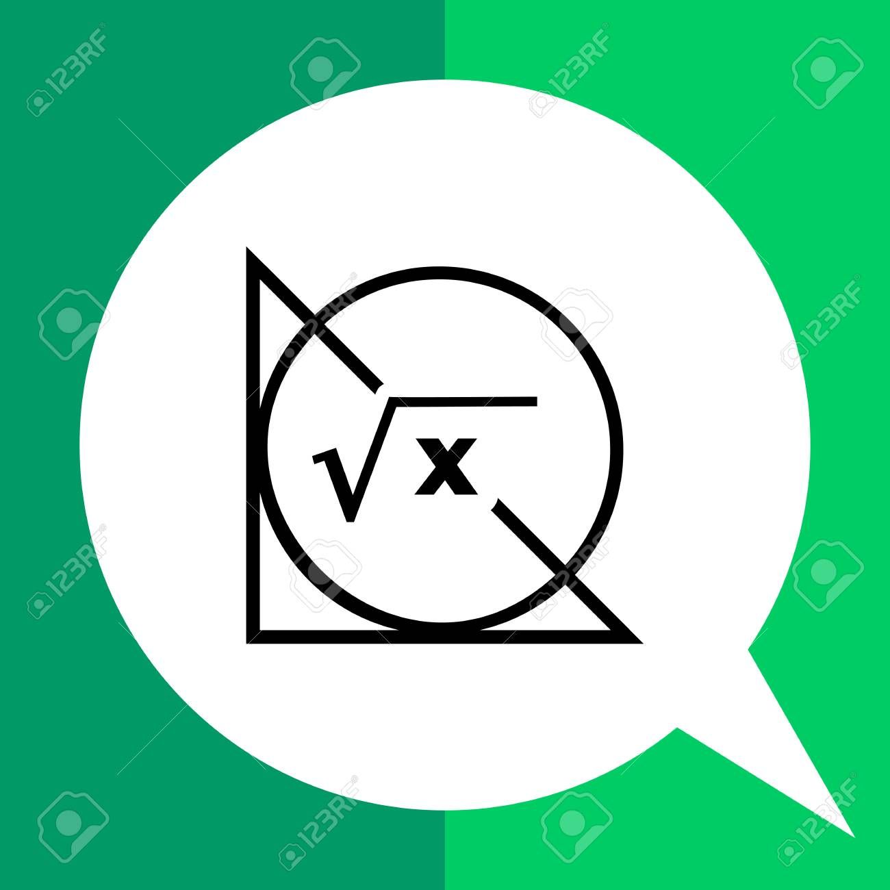 Monochrome Vector Icon Of Circle Triangle And Math Formula Royalty